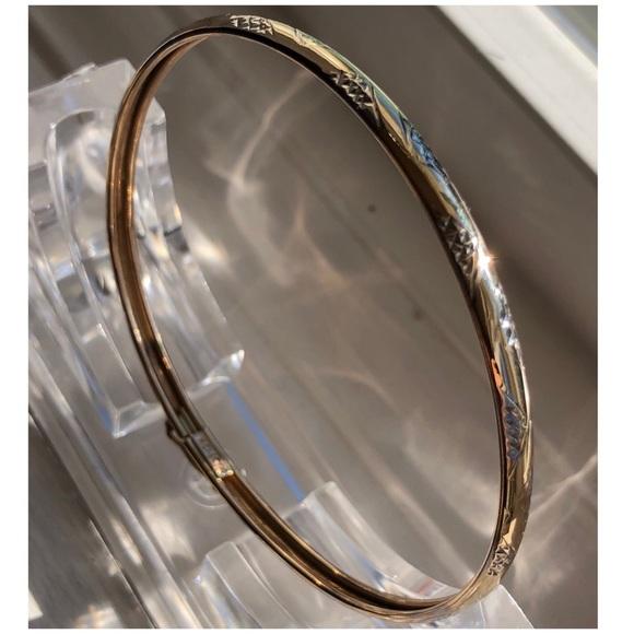 RCI Jewelry - 10KT Yellow/White Gold Etch Design Bangle Bracelet